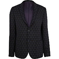 Navy diamond jacquard blazer