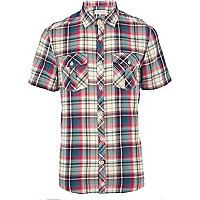 Purple check short sleeve shirt