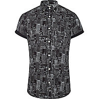 Black city print short sleeve shirt