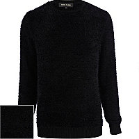 Black fluffy crew neck jumper