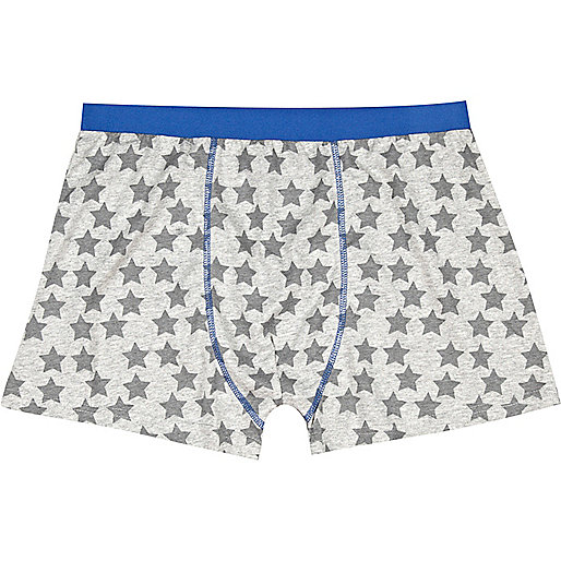 Grey star print contrast trim boxer shorts