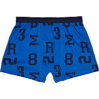 Cobalt blue number print boxer shorts
