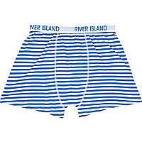 Blue and white stripe boxer shorts
