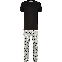 Grey moustache print t-shirt pyjamas