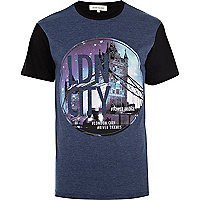 Navy LDN City print colour block t-shirt