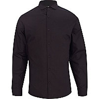 Black penny collar poplin shirt