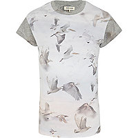 Grey bird print colour block t-shirt