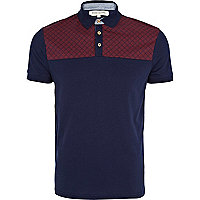 Navy contrast yoke polo shirt