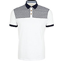 White contrast yoke polo shirt