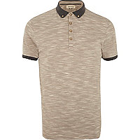 Light brown space dye polo shirt