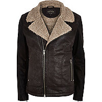 Brown shearling lined biker jacket