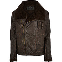 Brown borg lined aviator jacket