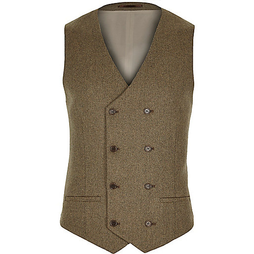 Light brown tweed waistcoat