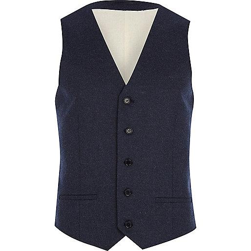 Dark blue tweed waistcoat