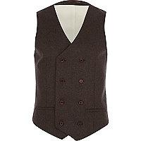 Dark brown tweed waistcoat
