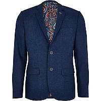 Indigo blue tweed blazer