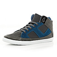 Grey colour block high tops