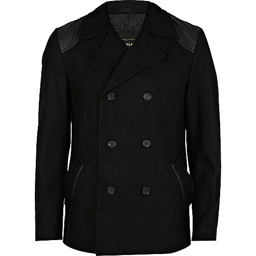Black quilted patch pea coat