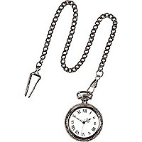 Gunmetal tone antique-style pocket watch