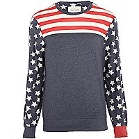 Red stars and stripes colour block sweatshirt