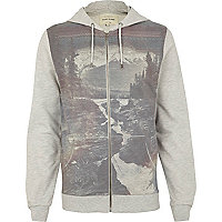 Grey landscape print zip through hoodie