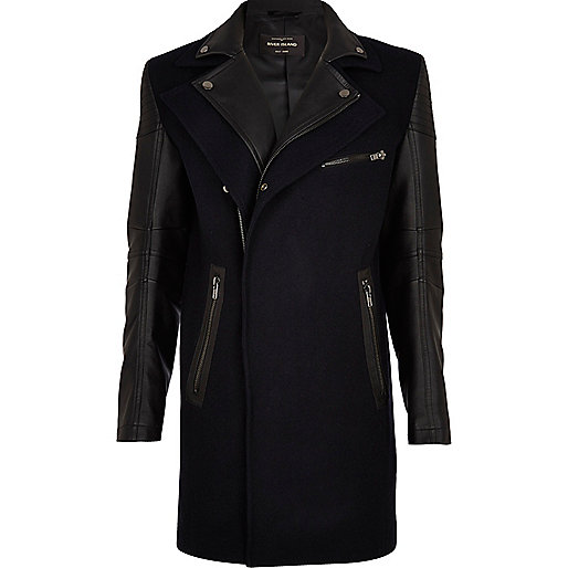 Navy 2 in 1 smart biker coat