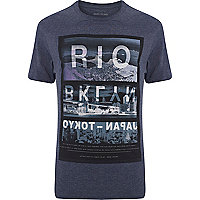 Navy Rio city photo print t-shirt