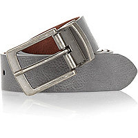 Grey and light brown reversible belt