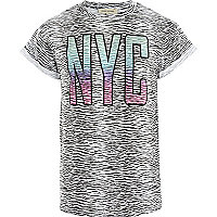 White zebra print NYC t-shirt