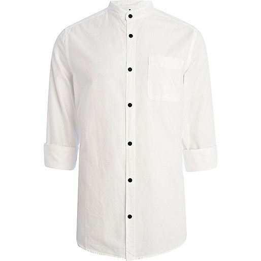White grandad collar roll sleeve shirt