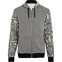 Grey snake colour block zip through hoodie