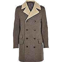 Stone borg collar double breasted wool coat