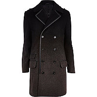 Black ombre smart wool-blend coat