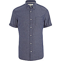 Navy ditsy print short sleeve shirt