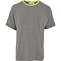 Grey marl fluro neck t-shirt