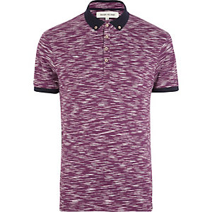 Purple space dye polo shirt