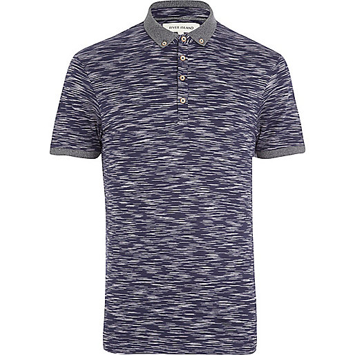 Navy space dye polo shirt