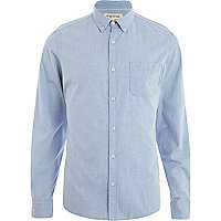 Blue ditsy print long sleeve shirt