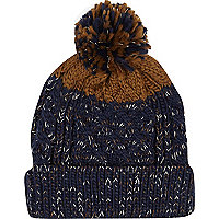 Navy fleck colour block beanie hat