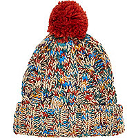 Multicoloured twist knit beanie hat