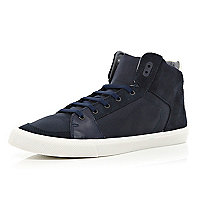 Navy contrast panel high tops