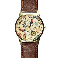 Brown bird print watch