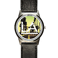 Black LA print watch