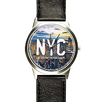 Black NYC print watch