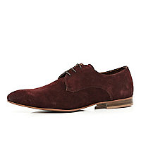 Dark red suede formal shoes