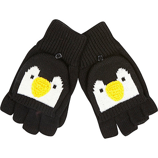 Black Penguin face fingerless gloves