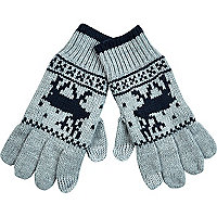 Grey Reindeer fair isle touch screen gloves