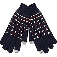 Navy fair isle touch screen gloves