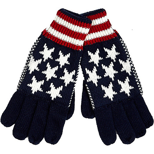Navy stars and stripes gloves