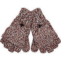 Dark red twist knit mitten gloves